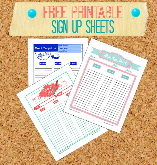 free printable sign up sheets